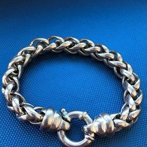 Big bold Sterling silver braided Italy bracelet